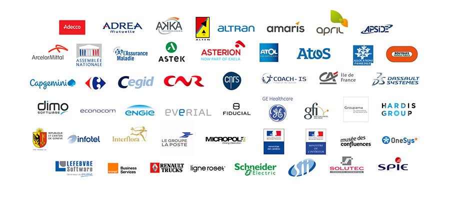 + de 100 logos d'entreprises de différentes tailles